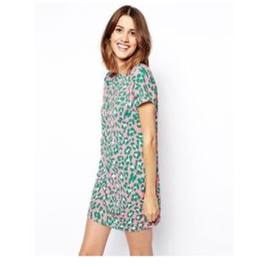 ASOS Dresses - ASOS Green and Pastel Pink Leopard Shift Dress